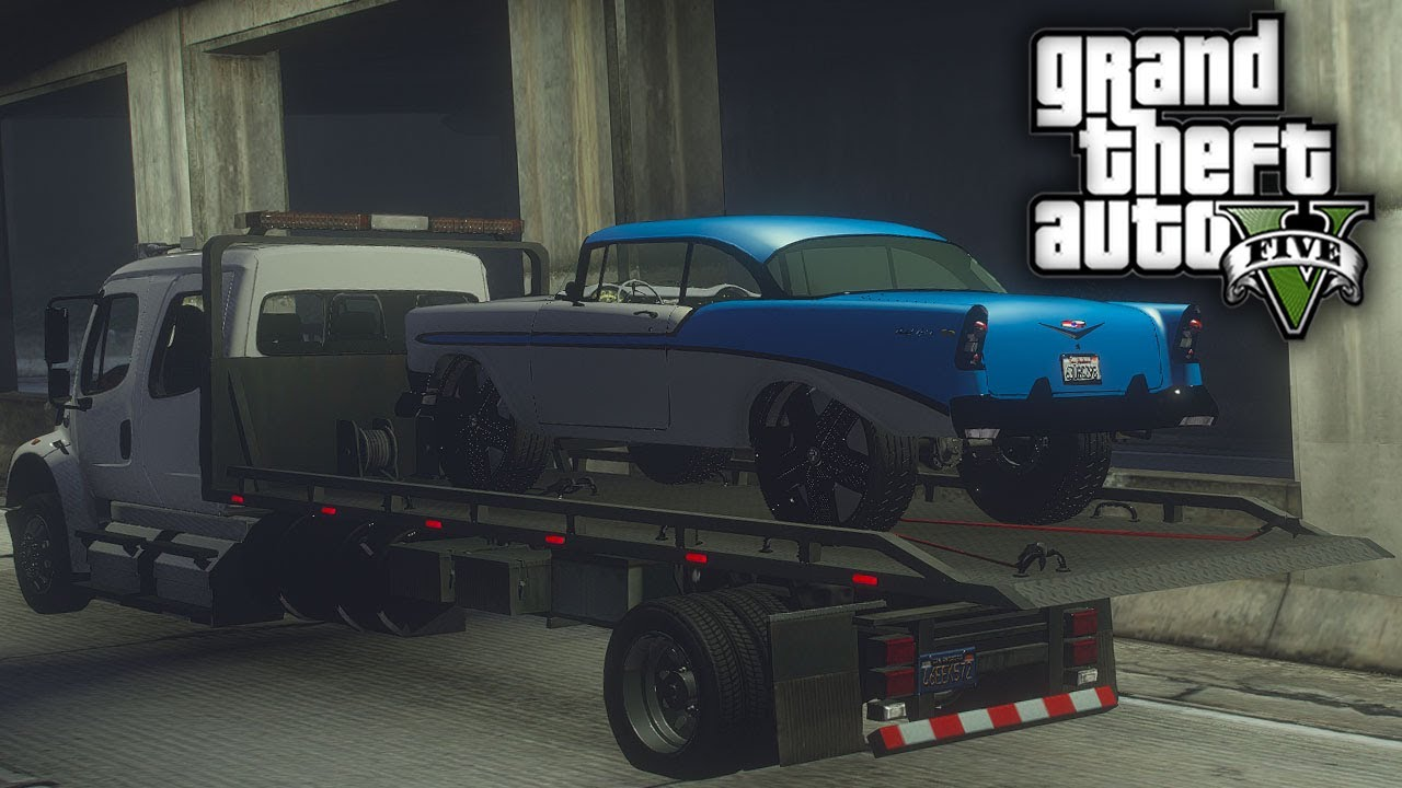 GTA 5 Real Hood Life #117 Franklins Blue & White Bel Air on Dub Floaters! (GTA 5 Hood Life Mods)
