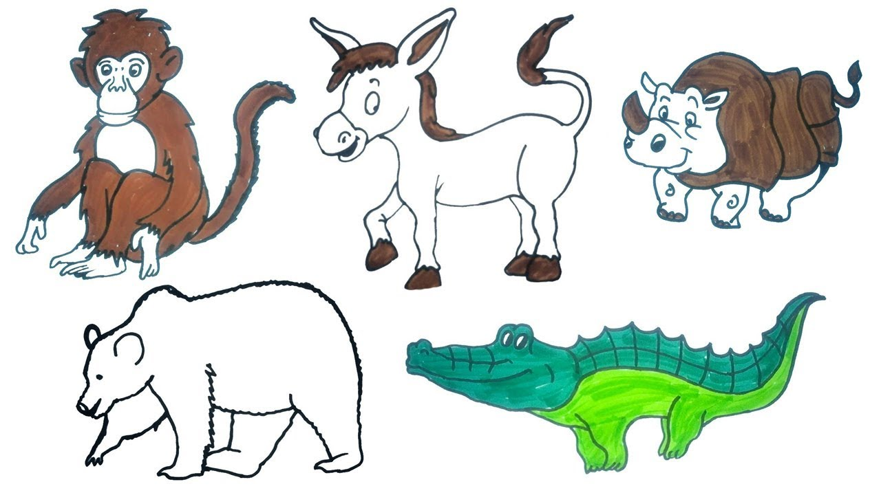 How To Draw Animals Easy Step By Step Drawings For Kids Drawing