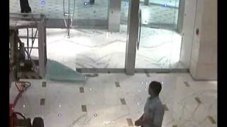 cctv accident sliding glass door breaks