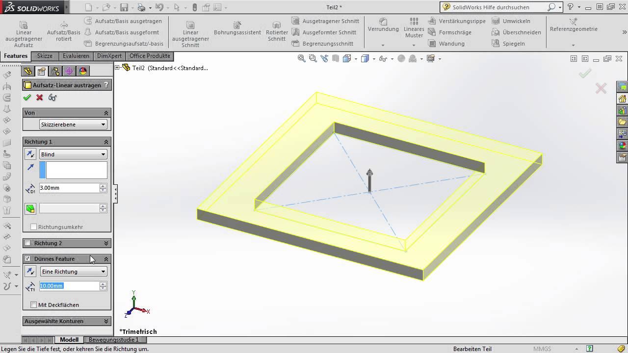 SolidWorks Tutorial: Linear ausgetragenen Aufsatz erzeugen ...