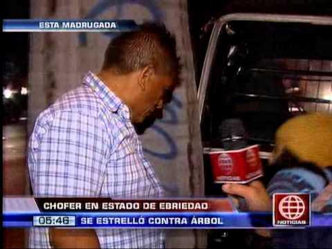 América Noticias: Chofer en estado de ebriedad chocó su vehículo contra un árbol en San Isidro