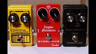 Overdrive Pedal Shootout  - Part 1 - Dod 250 vs YJM308 vs Fender Yngwie Malmsteen Overdrive