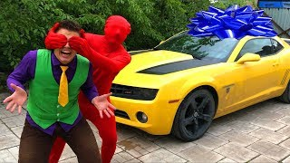 Red Man congratulated Mr. Joe on his Birthday & gave Car to Chevrolet Camaro as a Gift for Kids