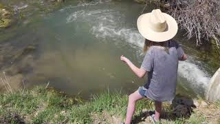 Stream Fishing With Emma / How To Tie On A Hook / How To Put A Worm On A Hook.