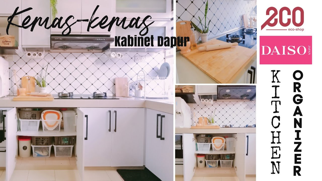 Susunatur Kabinet Dapur Kecil Guna Barang Eco Daiso Cabinet Pantry Makeover Part 1 Youtube