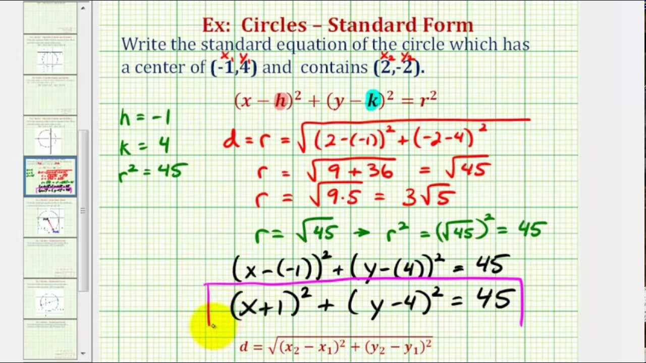 worksheet Writing Equations Of Circles ex find standard equation of a circle given center and point on the circle