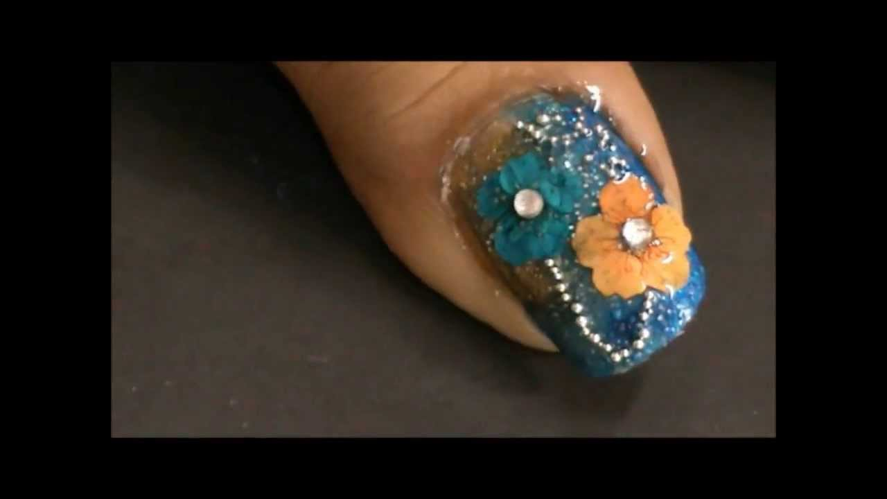 How to Do Dry Flowers Nail Art? - YouTube