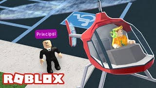 STEALING THE PRINCIPALS HELICOPTER IN ROBLOX HIGH SCHOOL