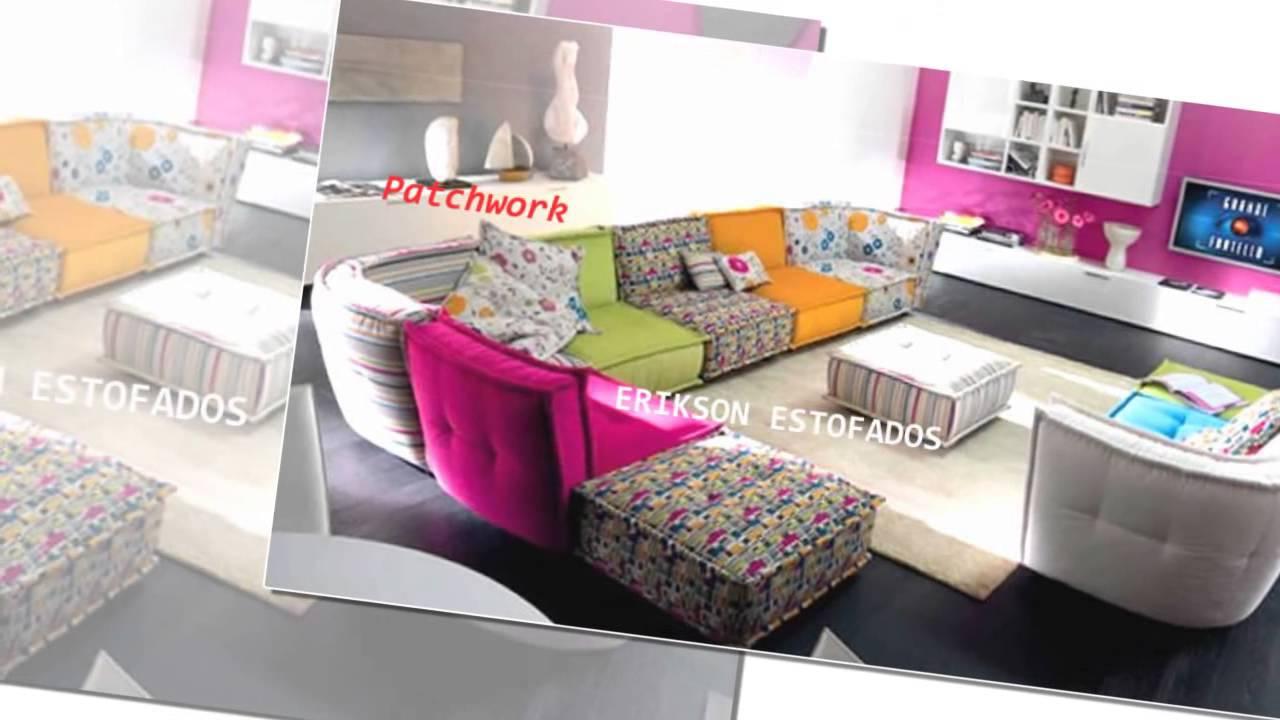 Sofa Em Couro Para Sala De Tv ~ sofas para sala, estofados em patchwork, decoração  YouTube
