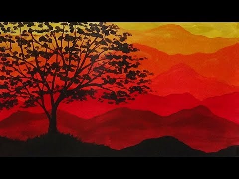 Abstract Acrylic Painting Autumn Mountains And Tree Silhouette Youtube
