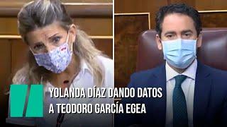 Yolanda Díaz dando datos a Teodoro García Egea