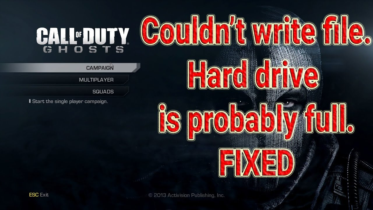 Fix Call Of Duty Ghosts Couldn't write a file, Hard Drive is Probably Full  Error