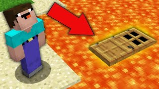 Minecraft NOOB vs PRO : NOOB BUILD SECRET HOUSE UNDER LAVA! Challenge 100% trolling