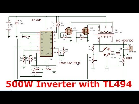 Power inverter with TL494 | 12 - 240V 500Watt