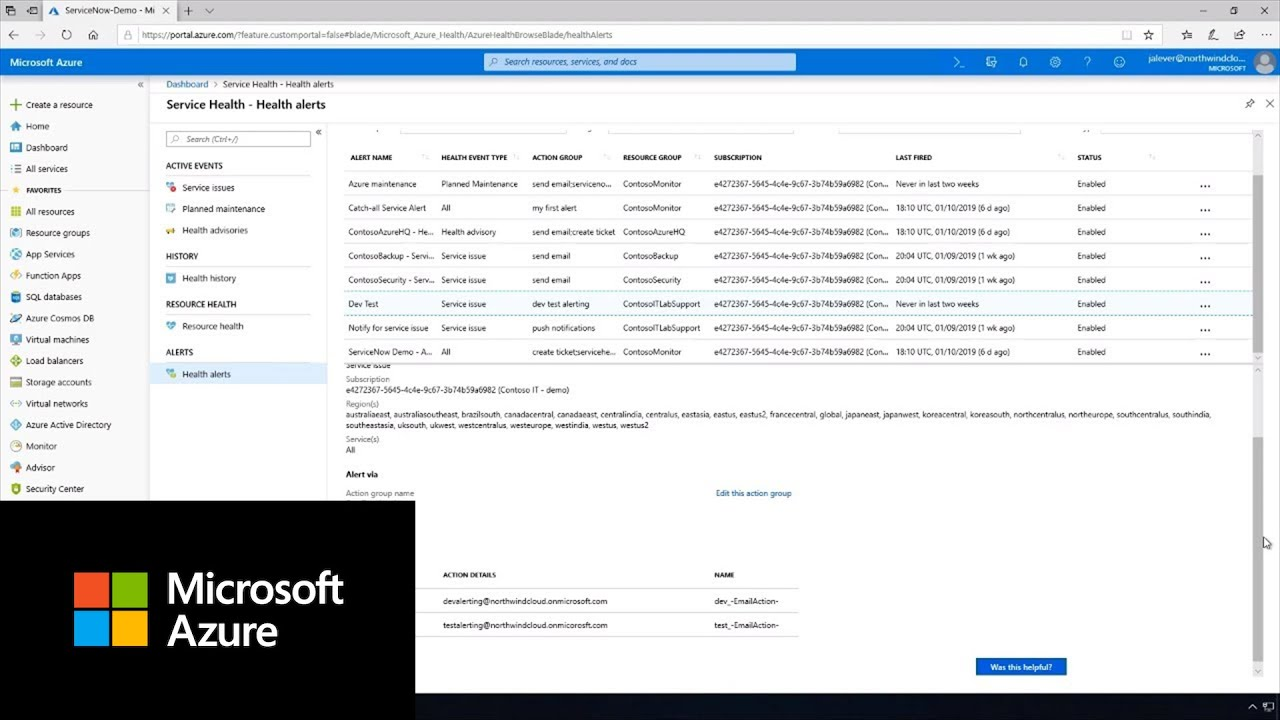 Best practices for setting up Azure Service Health alerts