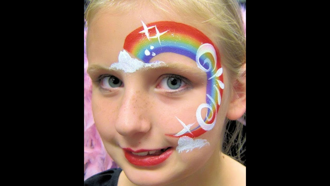super quick RAINBOW face painting - YouTube