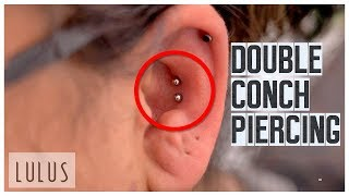 She Wanted 2 Conch Piercings In One Day!! *Painful*