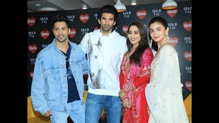 The cast of Kalank at a radio station for promotion