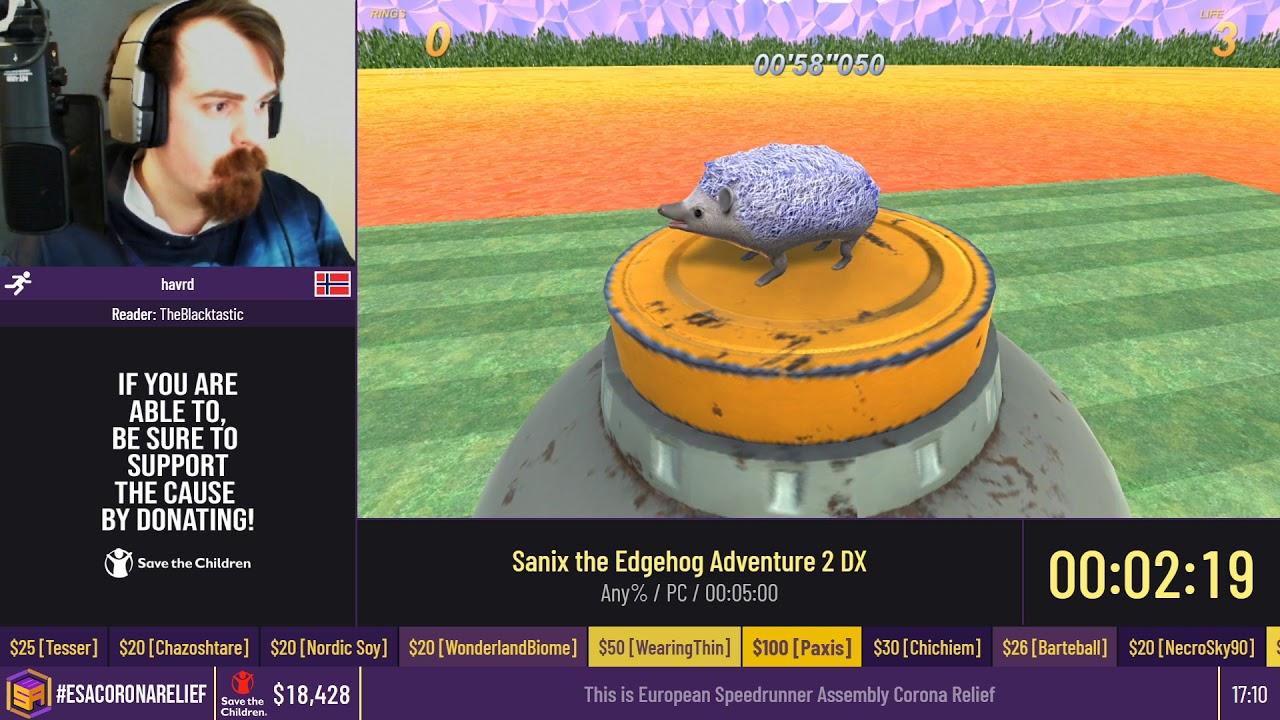 Sanix the Edgehog Adventure 2 DX [Any%] by havrd - #ESACoronaRelief