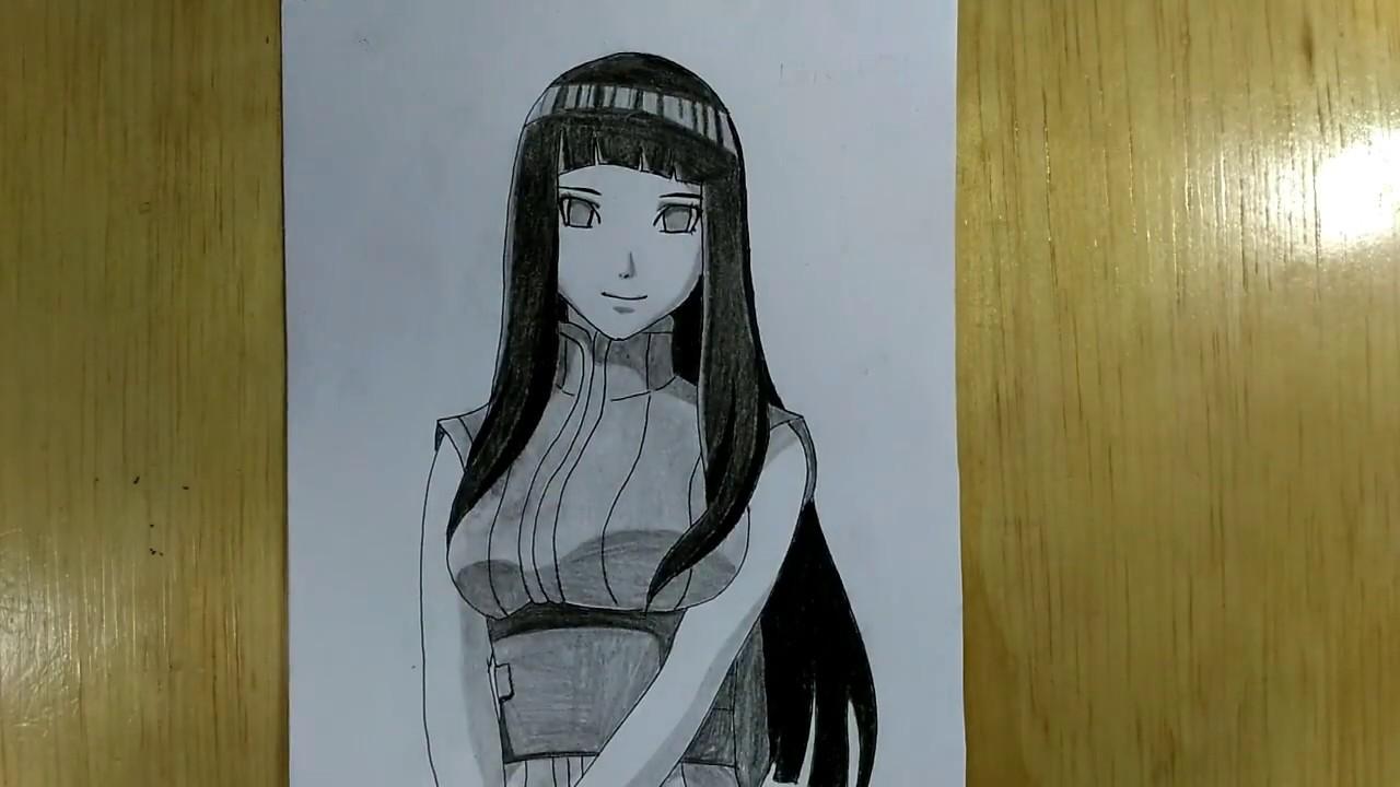Draw hinata hyuga with pencil