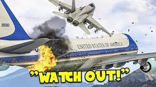 GTA 5_ Dramatic Air Force One Plane Emergency Landing at Aircraft Carrier mode