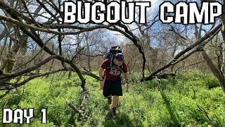 Into the Wild 5 Days Alone at Bugout Camp - Day 1 - Overnight Adventure