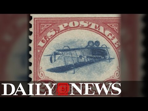 Rare 'Inverted Jenny' stamp featuring an upside down plane