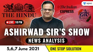 Current Affairs Show | News Analysis With Ashirwad Sir | 5,6,7 June 2021