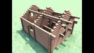 Сруб-колодец из брёвен 40 см. (9х11.5 м или 200 м2 по полу)(, 2014-11-10T14:59:47.000Z)