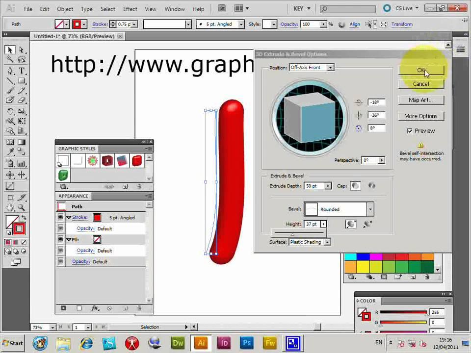 3D Shiny Illustrator Brush Strokes Tubes Tutorial CC CS6
