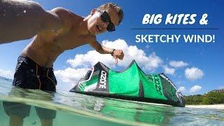Kiteboarding: Big Kites & Sketchy Wind! #VlogLife 12