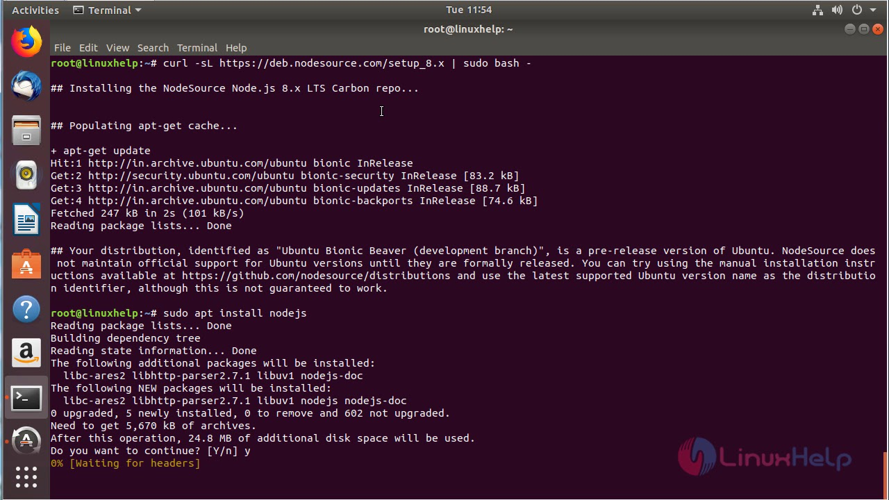 How to install Node js 8 on Ubuntu 18 04