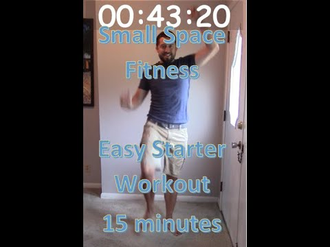 Small Space Fitness Easy Starter Workout. 15 minutes, 5 moves, 1 minute each. Perfect for beginner