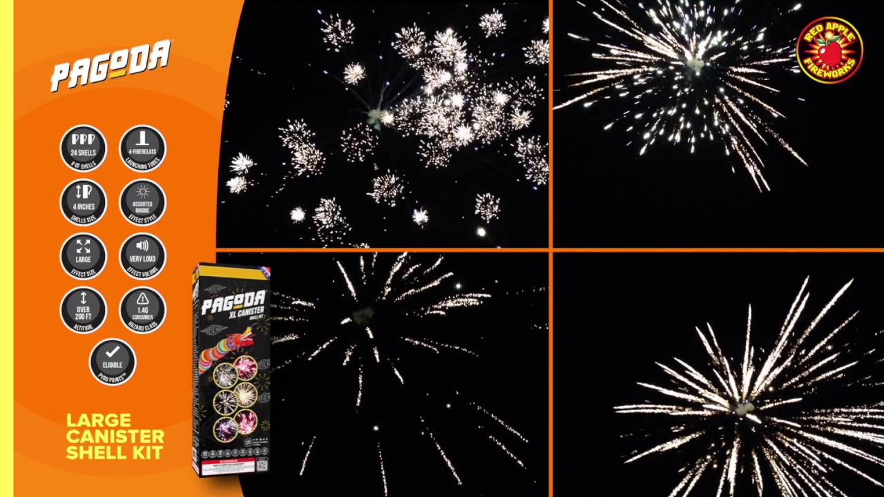Pagoda Large Canister Shell Kit by Red Apple Fireworks