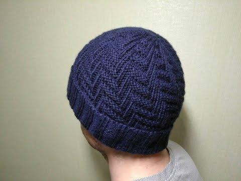 Вязать спицами шапку мужскую схемы описание