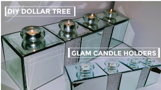 DIY DOLLAR TREE Mirror Candle Holder NEW (GLAM Bling)  DIY Home or Wedding Decor