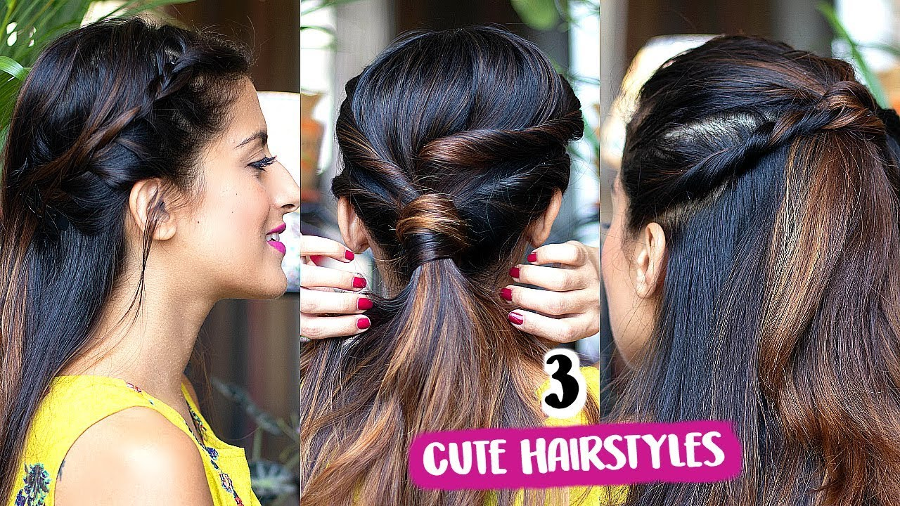 2 Min CUTE Everyday Hairstyles For School, College, Work/ Quick & Easy Indian Hairstyles - YouTube