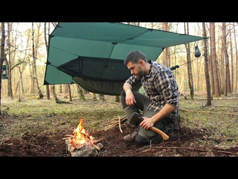 Overnight Hammock Camping in the Woods - Camp Fire, Tarp, Knife and Camp Tips