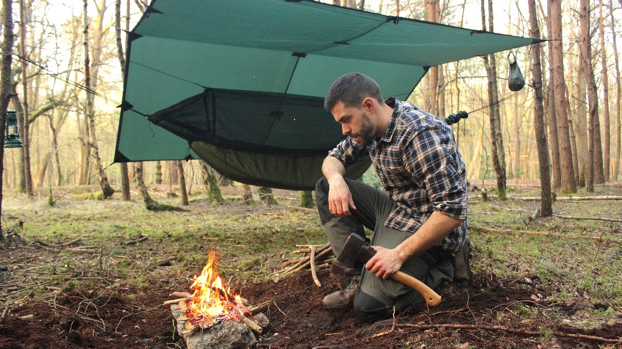 Overnight Hammock Camping In The Woods Camp Fire Tarp