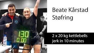 Beate Kårstad Støfring | 2 x 20 kg kettlebells jerk - 130 reps in 10 minutes (2018)