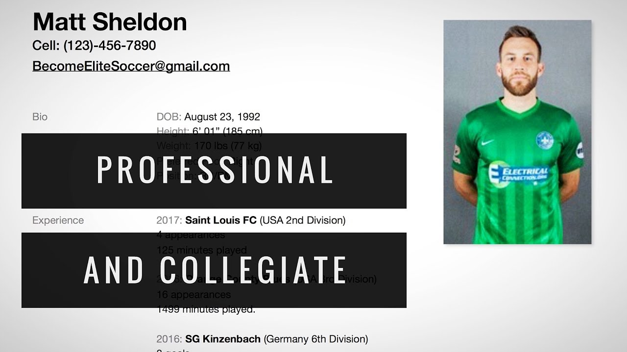 how to make a soccer cv resume youtube
