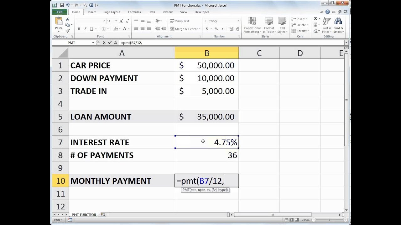 pmt function Pmt, one of the financial functions, calculates the payment for a loan based on constant payments and a constant interest rate use the excel formula coach to figure out a monthly loan payment at the same time, you'll learn how to use the pmt function in a formula.