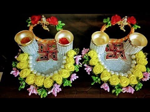 Haldi Kunku Platter Plate For Makar Sankrant Sankrantiche Vaan Pooja Aarti Thali Decoration Ideas Youtube