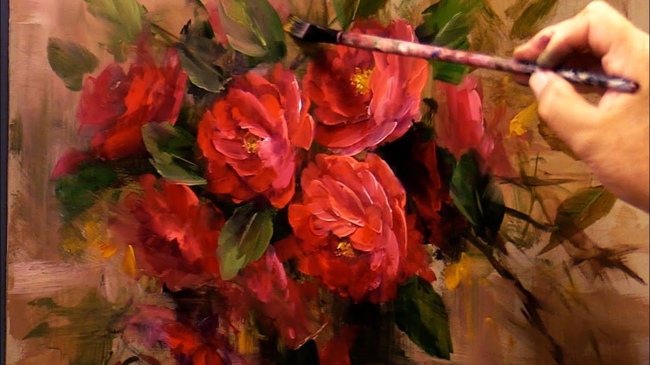 Techniques for Painting Flowers with Acrylics- Red Camellias