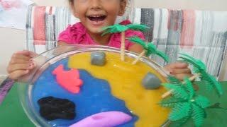 Slime ile deniz ve kumsal yaptık, Eğlenceli çocuk videosu