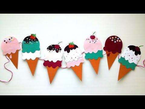 DIY Birthday Decor idea - paper ice cream garland - Birthday Party Decor