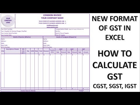 New Format Of GST In Excel. How GST Is Calculated