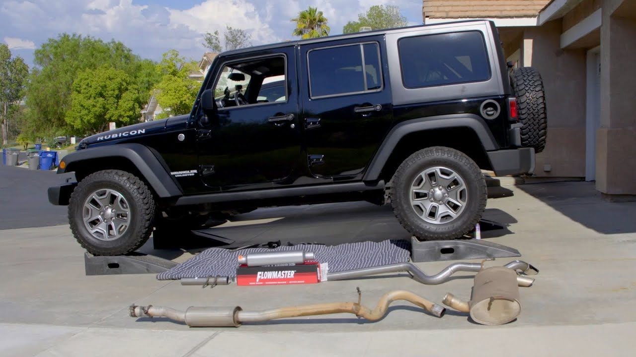 Jeep Wrangler Exhaust Upgrade  Flowmaster  How To Install Great Sound!    YouTube