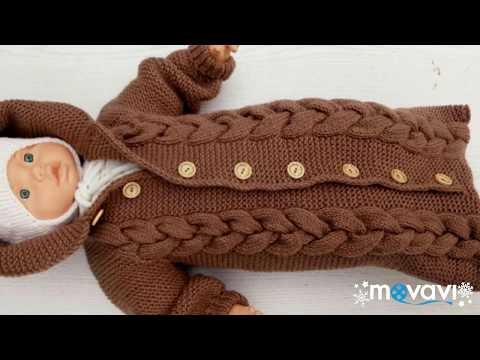 Вязаный конверт спицами для новорожденного видео