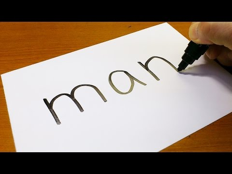 Very Easy ! How to turn words MAN into a Cartoon - art on paper for kids